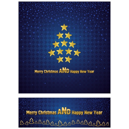 New Year and Christmas background with a gold tree stars  Further narrow banner with the text Stock Vector - 16265375