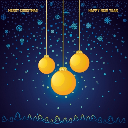 Blue New Year and Christmas background with a yellow glass ball Stock Vector - 16265377