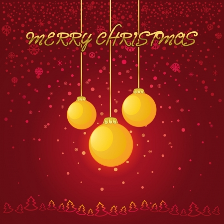 Red New Year and Christmas background with a yellow glass ball