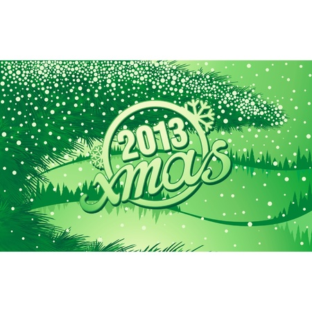 Green Christmas winter forest with tree branch and text Stock Vector - 16373882