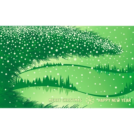 Green Christmas winter forest with tree branch and text