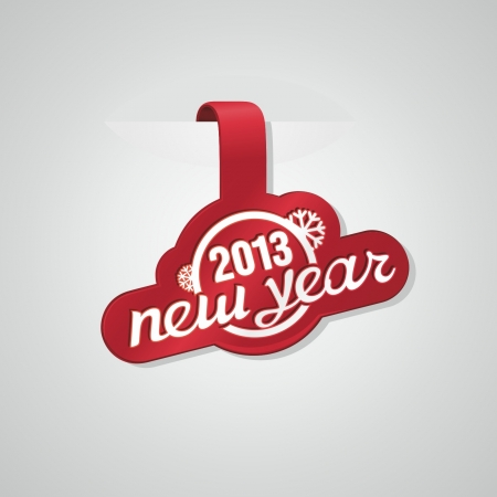 Red sticker with text: new year 2013 Illustration