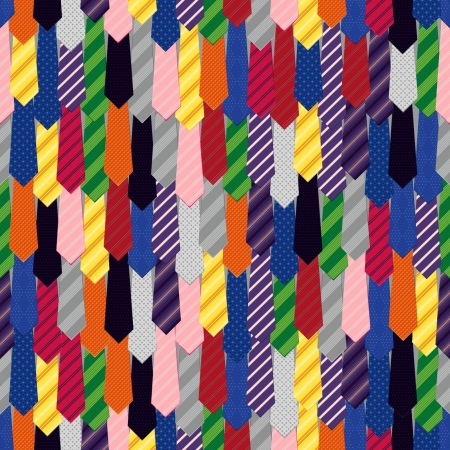 Seamless pattern of colorful men s ties  Rainbow colors and good mood  Vector