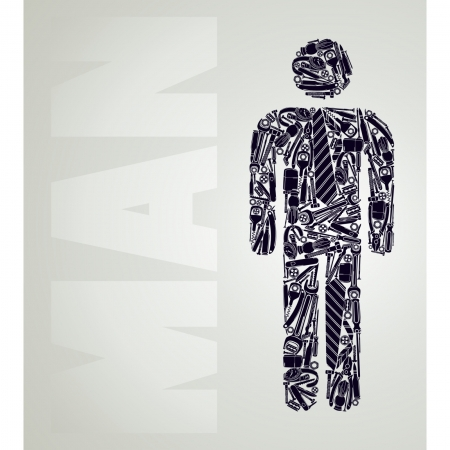 Simple silhouette of a male figure of the items for men only. Two colors. Illustration