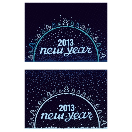 Beautiful inscription Happy New Year 2013 in the ball with Christmas trees and snowflakes Stock Vector - 17000017