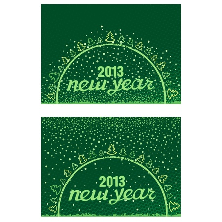 Beautiful inscription Happy New Year 2013 in the ball with Christmas trees and snowflakes Stock Vector - 17000015