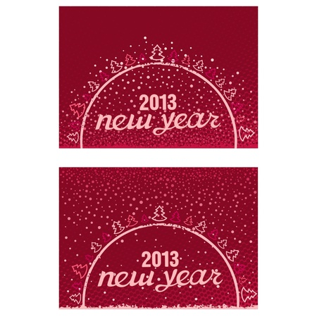 Beautiful inscription Happy New Year 2013 in the ball with Christmas trees and snowflakes Stock Vector - 17000012