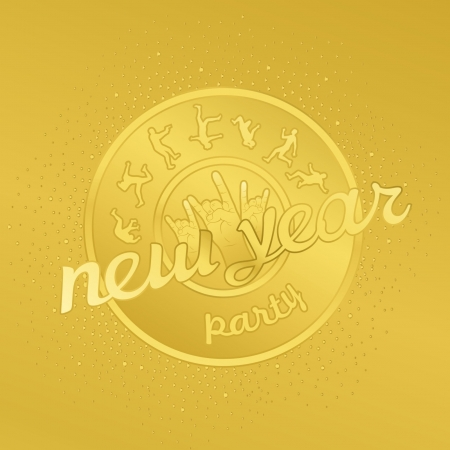 Funny gold badge rock party Stock Vector - 17000018