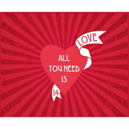 February 14 Valentine card  All in love Vector