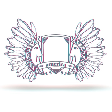 Emblema americano con los apaches y efecto anaglifo Ilustración de vector