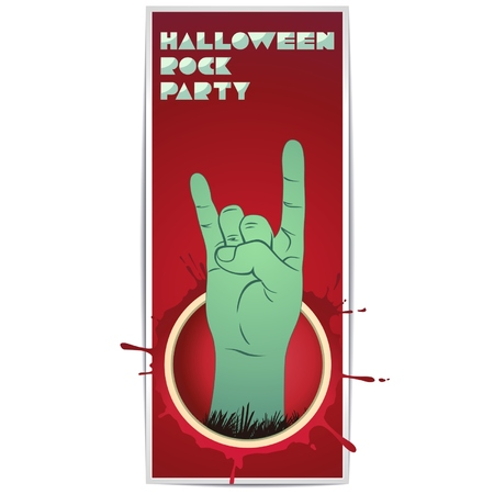 The red vertical flyer that says Halloween and green zombie hand