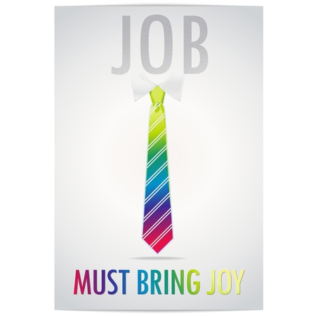 feel good: Cheerful multi-colored tie on a gray background with text about your work