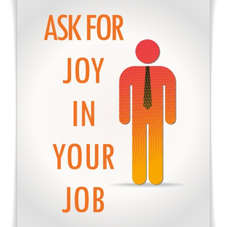 feel good: Vector banner with a simple orange figure of a man with a tie on a gray background and the words