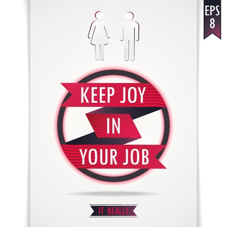 feel good: Gray vector poster about joy in working with red ribbon in a circle and human figures Illustration