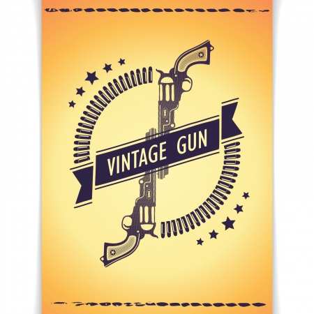 Vector banner with two guns and bullets on gold background in western poster style
