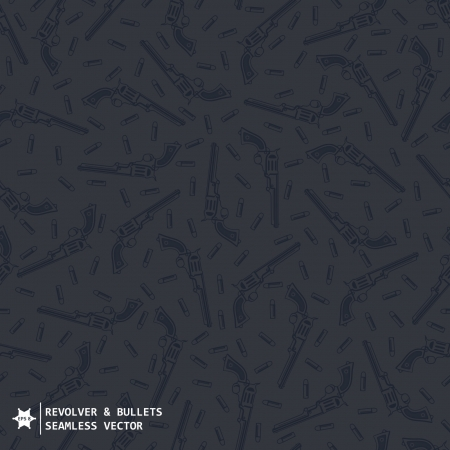 Dark Grey military seamless vector pattern with hand drawing guns and bullets Vector