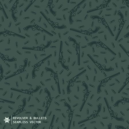 Green camouflage military seamless vector pattern with hand drawing guns and bullets Vector