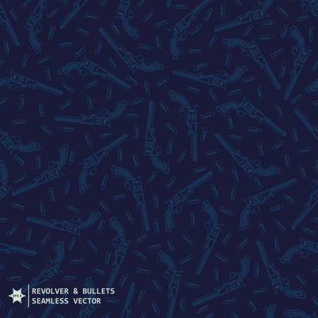 Blue navy military seamless vector pattern with hand drawing guns and bullets Vector