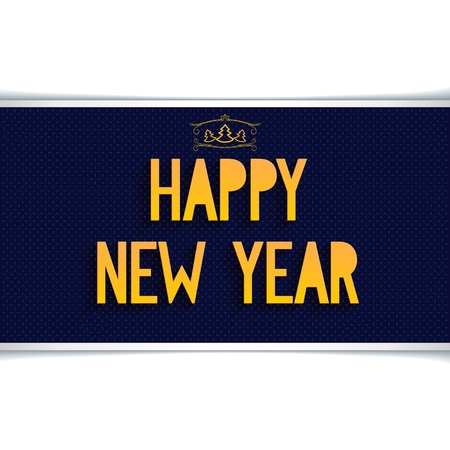 happy new year banner: Dark blue horizontal banner Happy new year with gold volume text and christmas tree Illustration