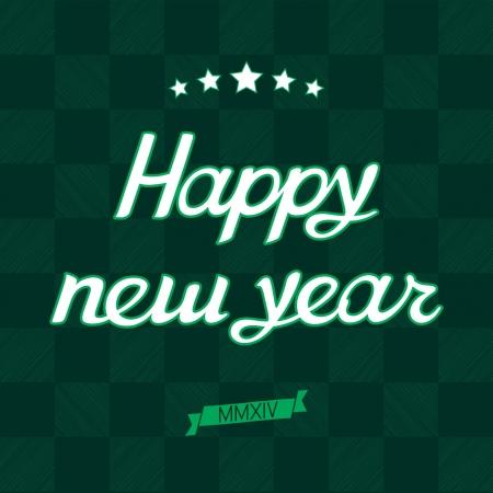 romeinse cijfers: Groene kilt Gelukkig Nieuwjaar kaart met de Sterren en de datum in Romeinse cijfers