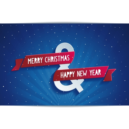 Happy Christmas greeting card with symbols     with red ribbon Vector
