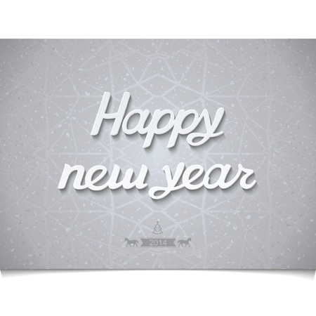 Happy Christmas hand lettering on texture background cracked ice with small characters coming year Vector