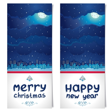 night before christmas: Two vertical banner with theme of night before Christmas and New Year  Moon and night city on   background of sky and snow