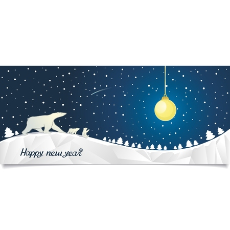 Polar white bears at North Pole look at the moon in form of Christmas tree toys   Happy new year horizontal vector banner   Vector
