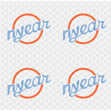 Retro seamless pattern of writing NYEAR on soft material structure white fabric with stitching  vector