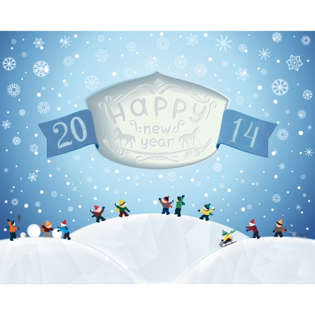 slot in: Winter fairytale landscape of New Year holidays with text in the slot and children playing in snow  vector  Illustration