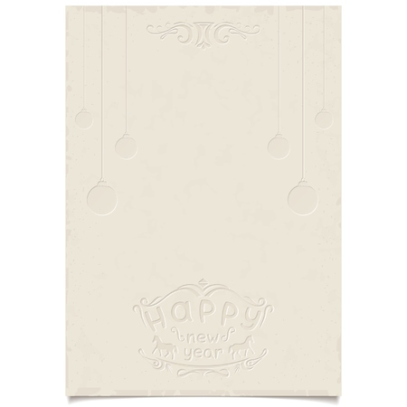 Template for your Christmas greetings on vintage grange shabby paper with embossed text, pattern and Christmas tree decorations   vector  Vector