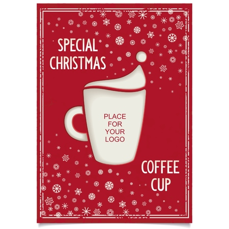 Fun Vintage Christmas poster design for restaurant and cafe with a cup of coffee and a stylized Santa Claus hat   Vector eps8