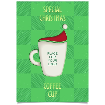 Fun Vintage Christmas poster design for restaurant and cafe with cup coffee and stylized Santa Claus hat   Vector eps8 Vector
