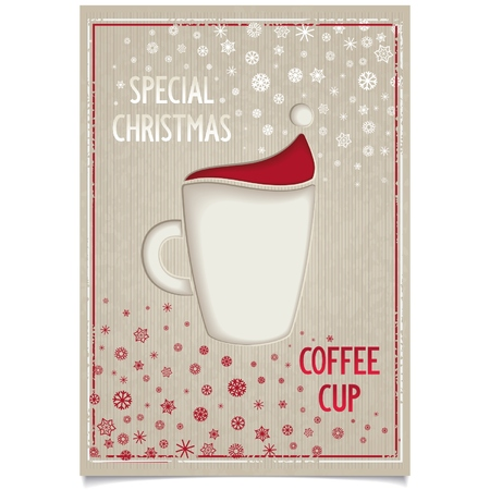 Christmas poster design for restaurant and cafe with fun cup coffee and stylized Santa Claus hat   Vector eps8 Vector