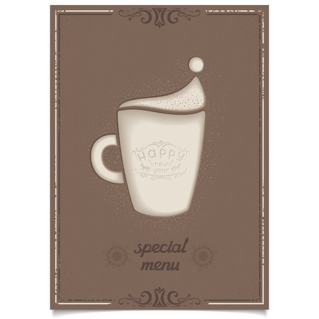 New year special menu poster design for restaurant and cafe with fun latte coffee cup and cinnamon  Vector eps8 Vector