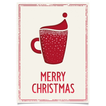 Sweet Vrolijk Kerstfeest poster ontwerp voor restaurant en cafe met rode kop koffie en sneeuwvlokken Vector eps8