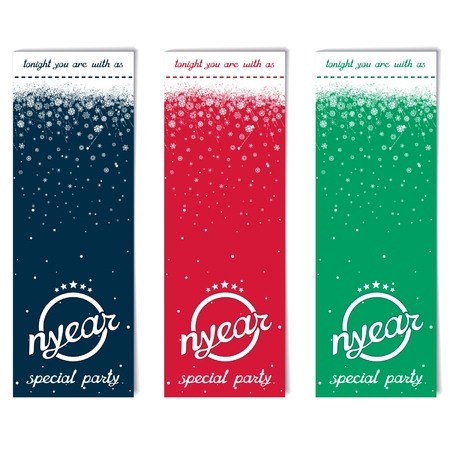 new year party: Three vertical abstract flyer for New Year party with inscription NYEAR and winter snow  vector eps8 Illustration
