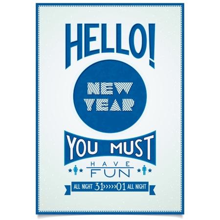 楽しんで: ビンテージ クリスマス ポスター本文ご挨拶と願いこんにちは新年、楽しい時を過す必要があります eps10 をベクター  イラスト・ベクター素材