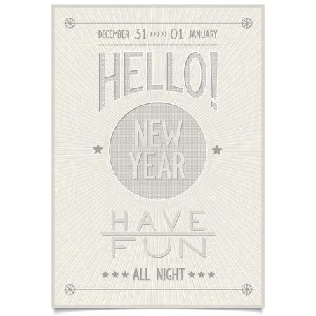 楽しんで: 本文ご挨拶と願いこんにちは新年を陽気なビンテージ スタイル ポスター、グランジ背景ベクトル図 eps8 に楽しい時を過す必要があります。
