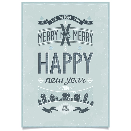 Happy new year wishes design card in retro poster style on grunge background  vector illustration eps8 Vector