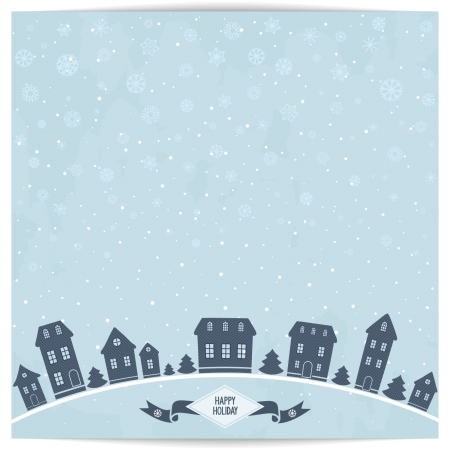 Abstract christmas card with blue winter town on light sky grunge background  Vector illustration eps8