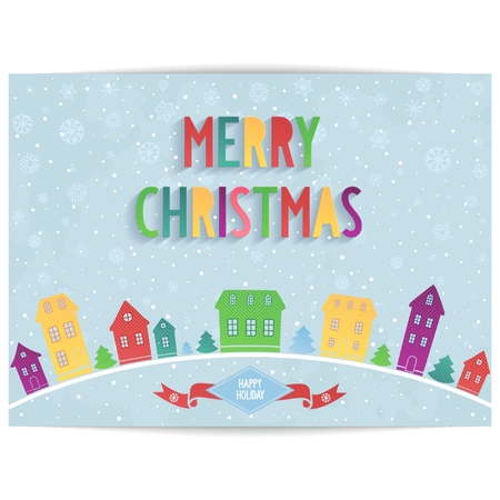 Abstract Merry Christmas card with colored house and 3D lettering design on light blue sky background  vector eps 10 Vector