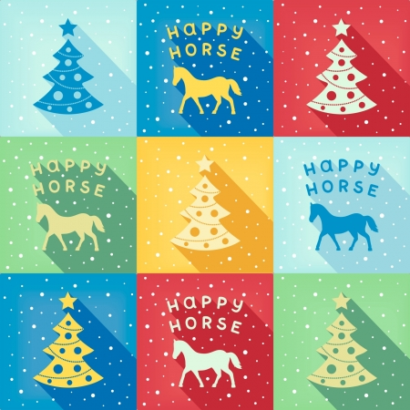 Retro pop-art pattern with Christmas symbols horse and fir-tree  vector  Illustration