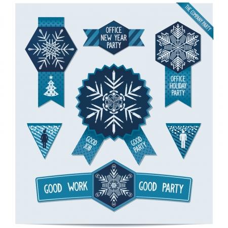 office party: Conjunto de decoraciones de Navidad para su oficina Snowflakes Making of elementos materiales de oficina de dise�o para la fiesta corporativa en la ilustraci�n oficina Vector eps8