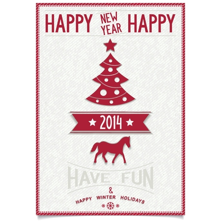 Red Happy New Year Wishes Card With Symbols Coming Year 2014