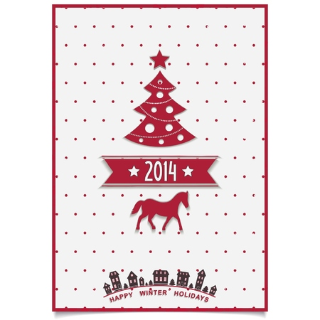 Red Christmas card design with symbols coming year 2014 and town silhouette on white background  vector  illustration eps 10 Stock Vector - 24391896