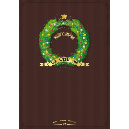 advent wreath: Template for Merry Christmas greetings with Advent wreath and decorations on the vintage background  vector  illustration eps10