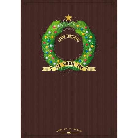 adventskranz: Vorlage f�r frohe Weihnachtsgr��e mit Adventskranz und Dekorationen auf dem Vintage Hintergrund Vektor-Illustration eps10 Illustration
