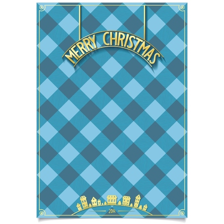 merry mood: Festive template on background of cell with detailed gold plate Merry Christmas and boxes of gifts   vector illustration eps10 Illustration