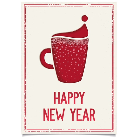 Happy New Year vintage poster for restaurant or cafe with stylized Santa hat red cup coffee and lettering design   Vector eps8 Vector